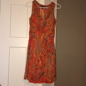 Aztec print dress with orange cami attached